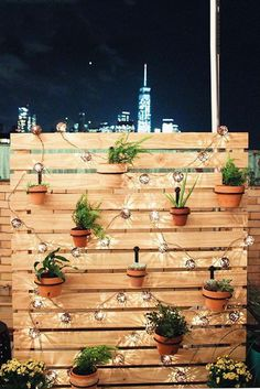 DIY Outdoor Decor To Spruce Up Your Backyard - DIY outdoor privacy screen with string lights and hanging plants. DIY outdoor privacy screen with s -