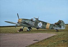 Messerschmitt Bf 109G-2 MT-213 Refurbished ex Luftwaffe aircraft with tranfer code RJ+SX.Colorized photo from a B&W original .