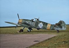Messerschmitt Bf 109G-2 MT-213 Refurbished ex Luftwaffe aircraft with tranfer code RJ+SX.Colorized photo from a B&W original .