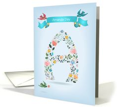 Name Day of Amanda. Floral Letter A. Custom Text and Name card