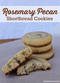 Delicate Rosemary Pecan Shortbread Cookies recipe | 5DollarDinners.com
