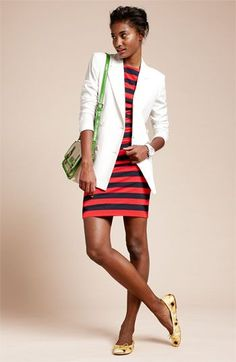 Shop this look on Lookastic:  http://lookastic.com/women/looks/blazer-sheath-dress-watch-crossbody-bag-ballerina-shoes/9564  — White Blazer  — Red and Black Horizontal Striped Sheath Dress  — White Watch  — Green Leather Crossbody Bag  — Yellow Print Leather Ballerina Shoes