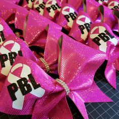Pretty in pink! Cheer Bows, Breast Cancer Awareness, Palm Beach, Pretty In Pink, Gift Wrapping, Gifts, Gift Wrapping Paper, Presents, Wrapping Gifts