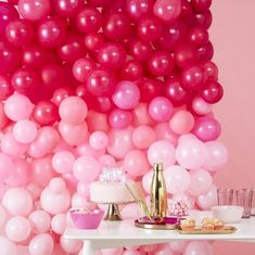 Our great ombre pink balloon wall is sure to get your guests talking and will be a great addition when decorating your venue. Our balloon wall has 210 balloons which cons Ballons Aufblasen, String Balloons, Blowing Up Balloons, Pink Balloons, Wedding Balloons, Balloon Wall Decorations, Balloon Backdrop, Balloon Garland, Wedding Decorations