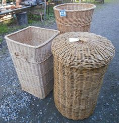 cane laundry hampers, $65 - $90 for sale at  Heaths Old Wares Collectables Industrial Antiques  12 Station Street Bangalow NSW 2479 Open 7 Days 9am - 5pm ph 02 6687 2222 Laundry Hamper, Hampers, Ph, Baskets, Tables, Industrial, Street, Antiques, Home Decor