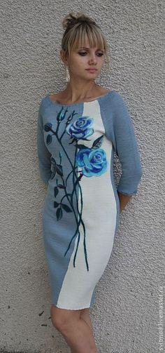 Купить или заказать Платье 'Чудо природы!РОЗА цвета неба' в интернет-магазине на Ярмарке Мастеров. Легкое,нежное платье связано из пряжи вискоза с хлопком. Рисунок выполнен шерстью меринос .