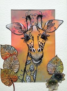 Pink Ink Giraffe stamp set with Claritystamp Groovi designer parchment and paper - by Lynne Lee