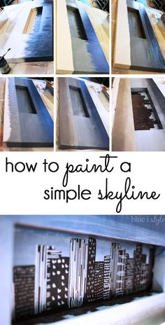 {diy with style} How to Paint a Simple Skyline Skyline Painting, Skyline Art, Light Grey Paint Colors, Beautiful Home Gardens, Paint Party, Diy Canvas, Learn To Paint, Painting Tips, Art Tutorials