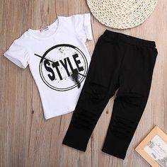 c89ef0bc48deb 2016 New Fashion Kids Girls Clothes Set Little Girl Summer Short Sleeve  T-Shirt and Hole Pant Leggings Outfit Children Set