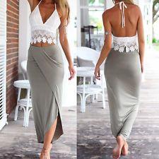 New Summer Lady Womens Sexy Sleeveless Vest Lace Beach Slim Evening Long Dress L