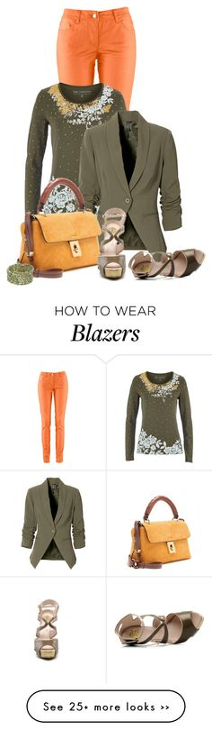 """""""Casual outfit: Orange - Olive"""" by downtownblues on Polyvore Colored Jeans Outfits, Colored Pants, Blazer Outfits, Fall Outfits, Green Outfits, Casual Outfits, Cute Outfits, Casual Attire, Matching Outfits"""