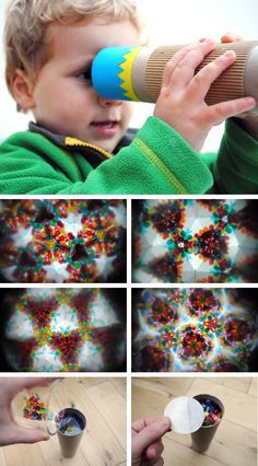 DIY kaleidoscope made from a paper towel tube, mirror paper (check the scrapbook aisle), clear plastic, and lots of little doodads