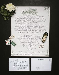 Calligraphy marriage certificate + postcard