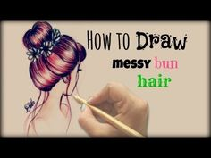 Drawing Tutorial ❤ How to draw and color Messy Bun Hair - YouTube