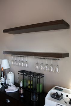 Wine glass rack on shelving. Like this idea on the wall for over the bar. Wine Glass Shelf, Glass Shelves In Bathroom, Floating Glass Shelves, Wine Glass Holder, Glass Furniture, Wine Decor, Display Shelves, Display Cabinets, Wall Shelves