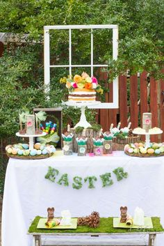 Lovely dessert table at an Easter party! See more party planning ideas at CatchMyParty.com!