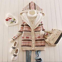 Nuevo 2014 Snowflake Impreso Fleece Suéter encapuchado del espesamiento de las mujeres - EUR € 25.36