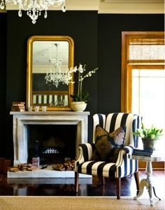 Striped chair, gold mirror, dark walls -- her preferred look is traditional, ornate, with a contemporary or eclectic twist. Style At Home, Striped Chair, Living Spaces, Living Room, Dark Walls, White Decor, Home Interior, Interior Modern, Beautiful Interiors