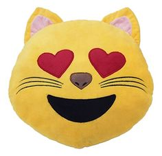 Emoji Smilie-/Emoticon-Kissen im Katzen-Design, mit Herzaugen, 32 cm, rund, gefüllt