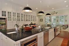 Green House kitchen with appliances which include built-in refrigerators, two dishwashers, a convection double oven , a professional look gas cooktop, a built-in microwave oven and a warming drawer. Home Decor Kitchen, Home Kitchens, Kitchen Dining, Kitchen Ideas, Dream Kitchens, Dining Room, Connecticut, Bedford House, Built In Microwave Oven