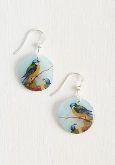 Have a Nice Chirp! Earrings. On road trips and long flights alike, wearing these dangling, resin earrings keeps the charm of your style in tact on arrival! #blue #modcloth