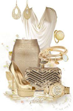 maría: Muy recargado, eliminando varios de los accesorios dorados, usaría este outfit.
