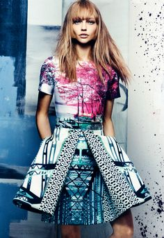 Sasha Pivovarova in a Mary Katrantzou dress for US Vogue November 2013, as photographed by Craig McDean.