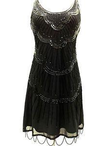 Black Vintage 1920s Flapper Gatsby Downton Abbey Fringe Beaded Dress Size 8 18 | eBay