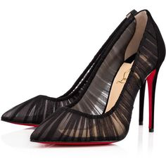 Christian Louboutin Follie Draperia ($795) ❤ liked on Polyvore featuring shoes, pumps, heels, louboutin, christian louboutin, black, black heel shoes, high heel pumps, pointed toe high heel pumps and high heel shoes