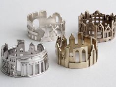 Cityscape Rings: Goldsmith Ola Shekhtman creates delicate pieces of jewelry inspired by the world's most beloved cityscapes. Every few years, the artist moves to a different metropolis and allows her surroundings to seep into her creative ideas. She melts, rolls, saws, solders, and polishes metal by hand to form rings that reflect the architectural beauty of the world, highlighting iconic skylines recognized by just about everyone.