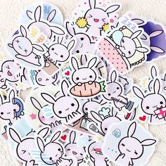 40pcs Kawaii Chubby Rabbit Pet Sticker Notebook Diary Decor Toy SchoolSuppliesB$