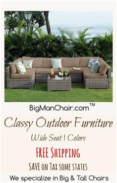 Outdoor Furniture and Patio Chairs with FREE shipping, SAVE tax too. Big Man Chairs specializes in chairs for the Big and Tall. ##home #furniture #outdoor Patio Chairs, Adirondack Chairs, Outdoor Chairs, Outdoor Furniture Sets, Outdoor Decor, Manly Living Room, Handmade Wood Furniture, Big Men, Outdoor Spaces