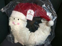 "2013 Pottery Barn Kids PLUSH SANTA WREATH Christmas Decorative Holiday NEW 18"" D"