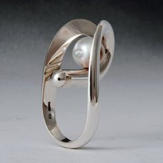 Sterling silvera and Tahiti pearl ring by Wesley Harris https://wesleyharris.ca/