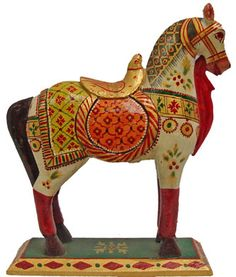 Wooden Horse - Wooden Hand carved, Paited horse, Wooden carving, Wooden arts from India, Indian art, Wooden sculptures