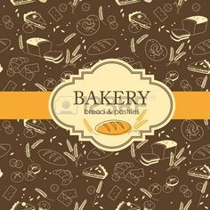 Vintage bakery background with bread and other pastries photo