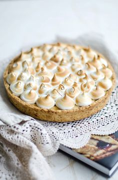 caramel tart with swiss meringue