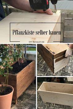 Eine einfache Pflanzkiste aus Holz für den Balkon selber bauen, so geht's. Auch als Hochbeet für Garten und Terrasse geeignet.