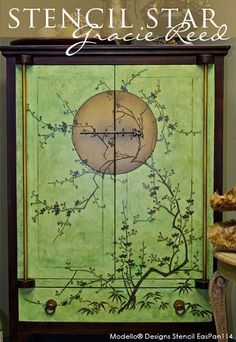 One of our Modello® Designs Exotic East Stencil Panels on a Japanese Cabinet | Project by Gracie Reedl