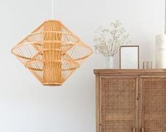 Natural design just for natural life. by WalmHomie on Etsy Rattan Light Fixture, Rattan Pendant Light, Pendant Lamp, Light Fixtures, Bar Lighting, Pendant Lighting, Natural Design, Chinese Lanterns, Chandelier Lamp