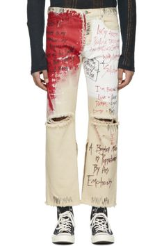 Faith Connexion - Off-White Tag Distressed Jeans