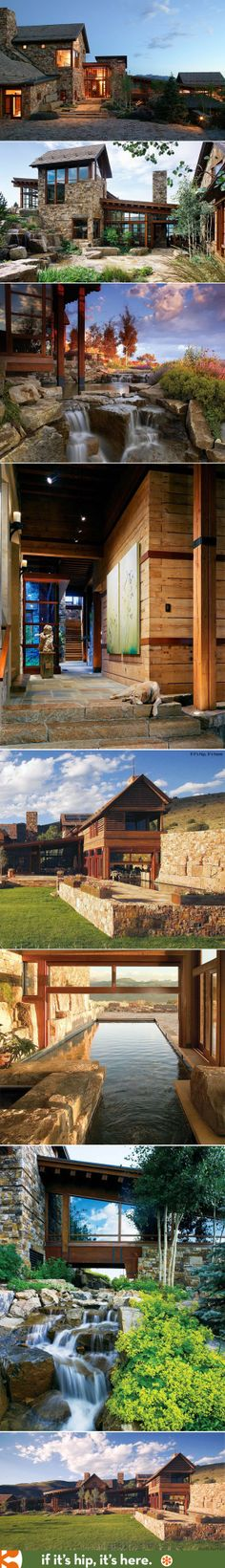 Beautiful home in Colorado's Mountain Star area has waterfalls, mahogany window walls and an indoor/outdoor pool.