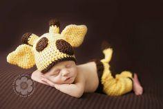 Baby Giraffe Hat Pants and Diaper Cover Crochet Pattern - Bailey Set