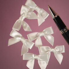 Tiny Classic White Satin Bow Ties x Craft Supply Gift Decoration Princess Wands, Wholesale Packaging Supplies, Fairy Wands, Thing 1, White Satin, White Bows, Gift Bows, Ribbon Crafts, Arts And Crafts Supplies
