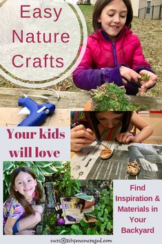 Easy Nature Crafts Your Kids Will Love – Curiosity Encouraged – Keep up with the times. Science Activities For Kids, Hands On Activities, Preschool Education, Outdoor Activities, Nature Crafts, Fun Crafts, Nature Study, Homeschool Coop, Homeschooling