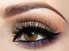 Neutral And Purple Eye Shadow.
