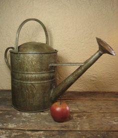 Wonderful Old Vintage European Garden Metal Watering Can – Embossed 1 from hannahshouseantiques on Ruby Lane