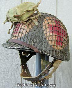 WWII M1 Airborne Helmet Medic Westinghouse Paratrooper Liner Front Seam Net FB