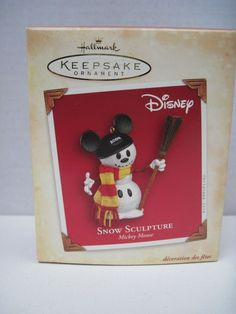 2004 Hallmark Mickey Mouse Snow Sculpture Snowman Disney Xmas Keepsake Ornament