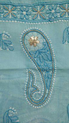 Chikankari embroidery with gota work